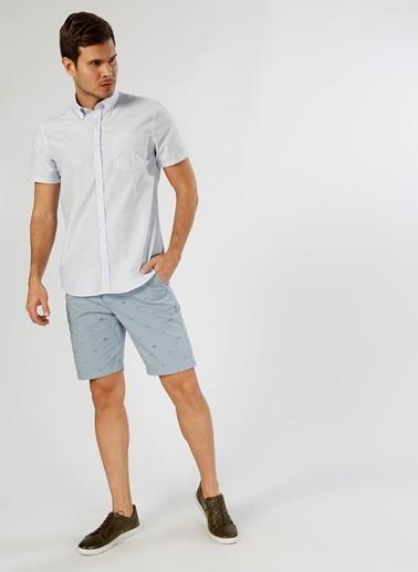 Cotton Bar Kareli Kısa Kollu Gömlek Beyaz